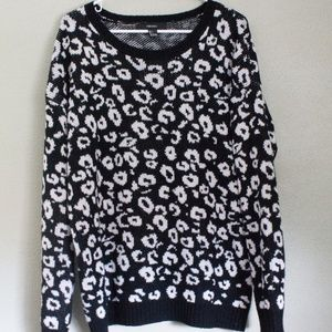 Leopard Print Black and White Sweater